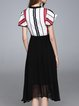 A-line Short Sleeve Casual Stand Collar Midi Dress
