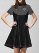 White-black Casual Stripes Stand Collar Cotton Midi Dress