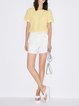 Yellow Solid See-through Look Shorts Sleeve T-Shirt