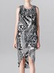 Multicolor Printed Silk Sheath Elegant Midi Dress