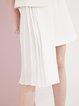 White Pleated Lapel Asymmetrical Sleeveless Work Dress