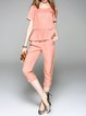 Crew Neck Casual Shorts Sleeve Two Piece Jumpsuits