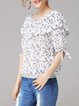 White Off Shoulder Ruffled Casual Floral-print Blouse