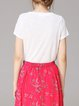 White Cotton Pockets V Neck Short Sleeve Solid T-Shirt