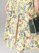 Yellow Casual V Neck Shorts Sleeve Floral-print Midi Dress