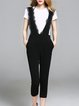 White-black Casual Printed Solid Jumpsuits