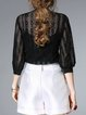 Black Stand Collar Ruffled 3/4 Sleeve H-line Blouse