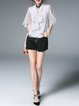 Bow Frill Sleeve Girly H-line Solid Ruffled Blouse