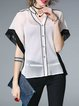 White Chiffon Buttoned Color-block Batwing V Neck Blouse With Camis