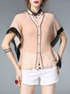Pink Buttoned V Neck Casual Color-block Batwing H-line Blouse