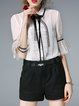 Bell Sleeve Girly Pleated Chiffon Shirt Collar Blouse