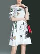 Floral Frill Sleeve Casual Floral-print Midi Dress