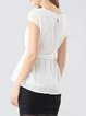 Zipper Bandage Polyester Casual Short Sleeve Crew Neck Tops