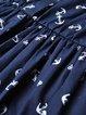 Navy Blue Floral Sweet Crew Neck A-line Midi Dress