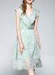 Aqua A-line Sleeveless Ruffled Midi Dress