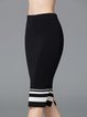 Knitted  Slit Black Bodycon Casual Stripes Midi Skirt