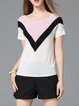 Knitted  Color-block Geometric Casual T-Shirt
