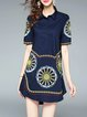 Navy Blue Casual Embroidered Cotton Shirt Collar Mini Dress