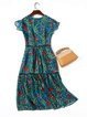 Floral Green Frill Sleeve Keyhole Printed Chiffon Dress