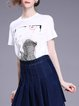 White H-line Ruffled Striped Shorts Sleeve T-Shirt