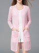 Pink Casual Solid Knitted Cardigan