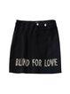 Black Sheath Embroidered Casual Letter Mini Skirt