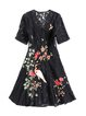 Black Lace Short Sleeve Floral Embroidered Mini Dress