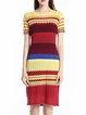 Multicolor Color-block Casual  Crew Neck Midi Dress