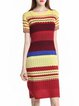 Multicolor Color-block Casual  Crew Neck Sweater Dress