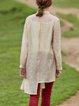 Casual Solid Shirt Collar Asymmetric Long Sleeve Blouse