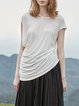 Casual Solid Pleated Short Sleeve Blouse