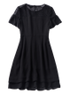 Black Paneled Bow Embellished A-line Guipure Elegant Crew Neck Mini Dress