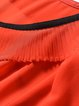 Plus Size Orange Bow Solid H-line Frill Sleeve Pleated Blouse
