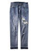 Blue Bird Embroidered Cotton-blend Ripped Casual Jeans