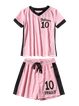 Pink Two Piece Color-block Short Sleeve Cotton-blend Romper