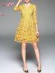 Yellow Elegant Guipure Lace Midi Dress