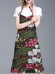 Two Piece Short Sleeve Crew Neck Floral-print Casual Midi Dress