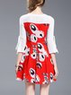 Red Printed Bell Sleeve Graphic Mini Dress