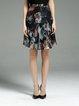 Multicolor Polyester Work A-line Floral-print Midi Skirt