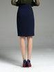 Asymmetric Navy Blue Solid A-line Work Chiffon Midi Skirt