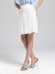 White Casual Polyester Solid A-line Midi Skirt