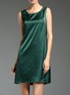 Green Crew Neck Solid Sleeveless Mini Dress