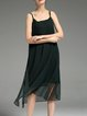 Dark Green Square Neck Spaghetti Chiffon Solid Midi Dress