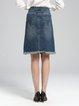 Plus Size Deep Blue Casual Spandex Brushed Denim Midi Skirt
