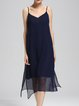 Blue V Neck Slit Casual Solid Chiffon Midi Dress