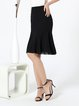 Black Mermaid Casual Midi Skirt