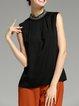 Plus Size Black Beaded Sleeveless Casual Turtleneck Chiffon Tank Top