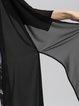 Black Chiffon H-line 3/4 Sleeve Solid Coat