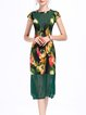 Green Crew Neck Mesh Elegant Floral Print Sheath Midi Dress