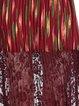 Burgundy A-line Crew Neck Stripes Lace Elegant Midi Dress